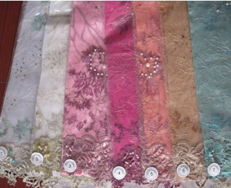 fancy beaded tulle ground textile stock