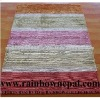 100% Bamboo Silk Striped Handmade Carpet Rug