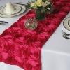 """100%Polyester 13""""X108"""" Rectangular fancy satin ribbon rosette embroidery wedding table runner"""