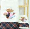 100%cotton embroidery satin-border teddy bear bath towel