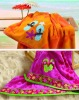 100% cotton high quality velour jacquard beach towel with printing/embroidery/lace