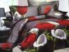 100%cotton reactive printed 3D flower bedding set / duvet cover