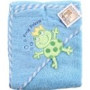 100% cotton terry blue embroidered baby towel with hood