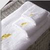 100% cotton white hotel towel set with embroidery
