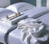 100% cotton white jacquard  duvet cover--hotel bed linen