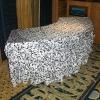 100%polyester flocking taffeta table skirt for wedding