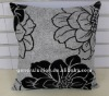 2011 hot sale & popular & valuable Linen flower flocked square handmade cushion cover for home and hotel and seat and car