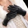 2012 New Ladies Lambskin leather gloves BLACK(L090NN)