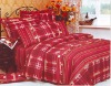 4 pcs printed bed cover  -  Red plaid