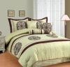 7Pcs Faux Silk Flocking Comforter Set