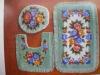 Acrylic flower pattern bath toilet mat sets