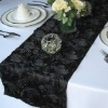 Black Satin Rosette Table Runner/Wedding Table Runner/Table Runner Decoration