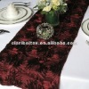 Burgundy Satin Rosette Table Runner/Wedding Table Runner/Table Runner Decoration