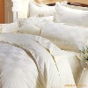 CVC 80/20 (0.5cm,1cm,2cm,3cm) satin with stripe white bed set for hotel