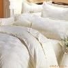 CVC 90/10 (0.5cm,1cm,2cm,) satin-stripe white bed set for hotel