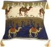 Camel Caravan Blue and Cream 17''x17'' home decor cushion