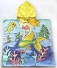 Cartoon printed children hooded towel/beach poncho towel