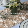 Champagne Satin Rosette Table Runner/Wedding Table Runner/Table Runner Decoration