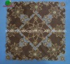 Coffee fabric table cloth with gold flowers and brown holes