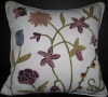Creweled Cushion Cover--Floral