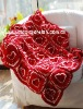 DD10007 Hand Crochet Baby Red flowers cotton fabric Soft Blankets Afghan Coverlet Milk Cotton