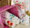 Embroidered hand and bath towels with rayon border
