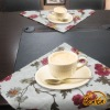 Eurpon pastoral style floral printed white linen cotton table placemats