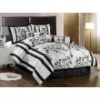 King Size Bedding-7 Pieces Beige and Black Asian Bamboo Floral Comforter Set Bed-in-a-Bag