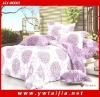 Latest design 100% cotton plain purple printed yiwu 4pcs bedding set