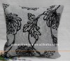 Linen leaf flocked square cushion cover and pillow case for car and seat and home and hotel