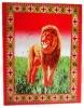 Lion printed polyester double sided brush fleece blanket