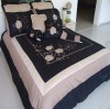 Luxury appliqued black Comforter bedding set