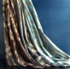Luxury satin silk curtain, jacquard geometric pattern silk curtain(B190075)