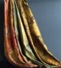 Luxury satin silk curtain, jacquard maple leaf silk curtain(B190072)