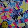Multicolor stars printing polyamide/elastan bikini fabric