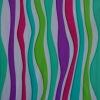 Multicolor stripe printed spandex nylon knitted fabric
