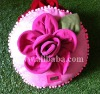 Pink rose handmade pillow