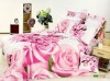 Pink rose printed cotton bedding set romantic dreaming for weddings
