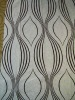 Polyester linen flocked ready made curtain
