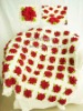 QN10005 Handmade Crocheted Baby Rose Soft Blankets Afghan Coverlet Milk Cotton