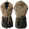 Rabbit fur patches vest with gradual colors