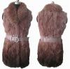 Rabbit fur vest long style with gradual colors