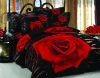 Red Rose flower screen Printed bed sheet/bedding set