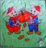 Soft 100% Polyester Two Mouse-Pattern Baby Blanket