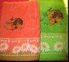 Solid animal embroidery & flower border bath towel
