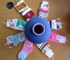 Spandex covered polyester twisted yarn for baby socks
