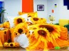 Sun flower reactive printed 100% cotton bedding set made in China strong hygroscopicity