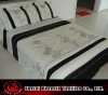 black and white embroidered/applique floral panel bedding set