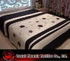 black and white embroidered/appliqued floral panel bedding set