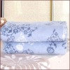 blue and white 100% polyester coral fleece blanket